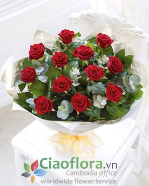 Bouquet of 12 red roses